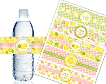 Pink Lemonade Water Bottle Labels, Printable Water Bottle Labels, Lemonade Party Decor, Happy Birthday - Instant Download - DP473