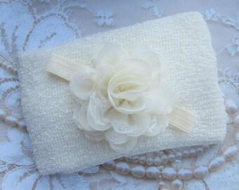 Cream Knit Wrap AND/OR Matching Cream Chiffon and Lace Flower Headband, photo shoots, newborn swaddle wrap, bebe foto, Lil Miss Sweet Pea