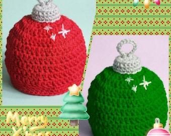 Crochet Christmas Ornament Hat, Christmas Bulb, Photo Prop, Newborn Christmas Hat, Toddler Hat