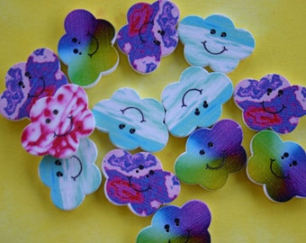 Cloud Wood Buttons - Scrap booking - Sewing - Card making - Craft supplies