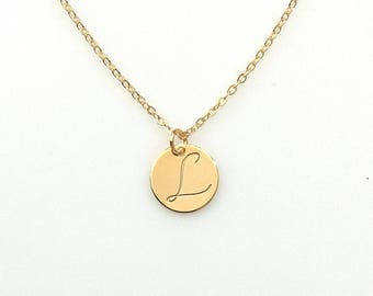 Personalized Hand stamped Gold plated Disc Necklace, Personalized Charm, Initial Necklace, Thin disc Necklace, Initial Necklace, 12mm Disc