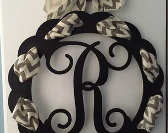 Single Initial Wooden Monogram Door Hanger With Chevron Ribbon