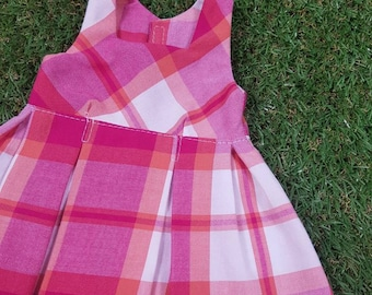Pink Check Pinny Dress to fit American Girl Doll or 18in Doll's + Free shipping with Australia