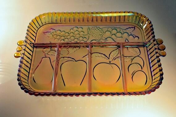 Divided Relish Dish, Indiana Glass, Fruits Amber, Carnival Glass, Amber Glass, Relish Tray