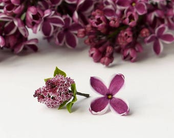 "TO ORDER - A branch of varietal lilac ""Sensation"" 1/12 scale, dollhouse decor, dollhouse flowers, dollhouse miniatures"