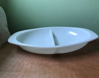 Vintage Opal Pyrex Divided Serving Dish