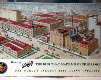 Schlitz Beer, Milwaukee Factory Circa 1910 Near Mint Advertising Postcard
