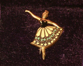 Vintage Gold Plated And Enamel Toe Dancing Ballerina  Brooch/Pin