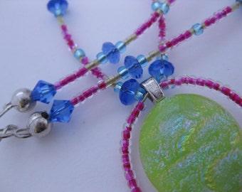Happy Hippie Kandi Rave Sunshine Yellow Pendant Glass Beaded Necklace - Neon Pink Ringed Yellow Sunburst Dichro Glass w/Swarovski Crystals