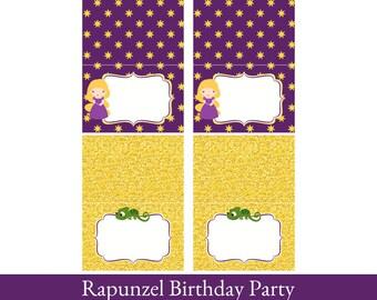Rapunzel Food Cards, Foldable Tent Cards, Rapunzel Printable, Food Labels, Rapunzel Party Decorations