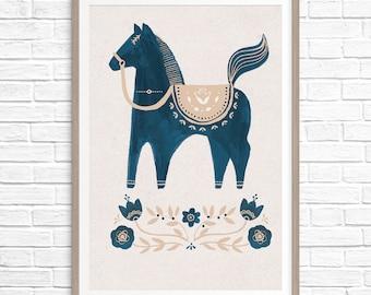 A3 Dala Horse Print