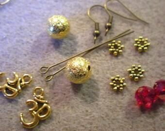 BO YOGA Kit * red ohm and Golden STARDUST beads * bronze hooks