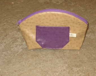 Purple and beige faux leather cosmetic case