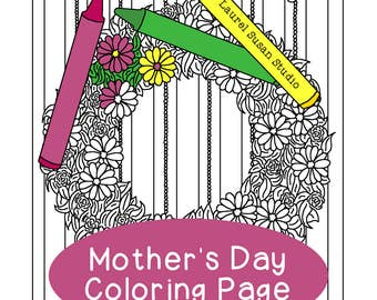 Mother's Day Coloring Page, Adult Coloring Page, Flowers Floral Wreath Spring