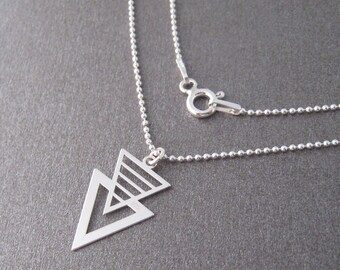 Fine necklace silver openwork triangle 925 sterling