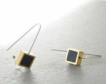 Long silver earrings, Gold and silver earrings, Black earrings, Polymer clay earrings, Hook earrings, Arc earrings, Geometric earrings,