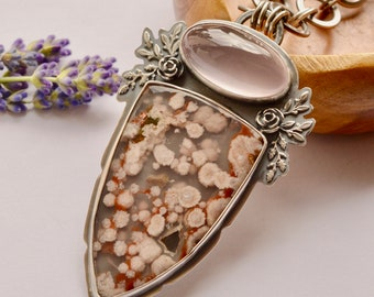 Plume Agate Necklace, Rose Quartz Necklace, Statement Jewelry, Handcrafted Silver and Stone Metalwork, Eye Catching Stone, Large Pendant
