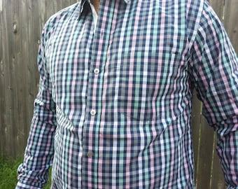 Men's Handmade Cotton Long Sleeve Button Down Formal Chest Pocket Shirt - Navy Pink Mint Plaid - Josiah H823