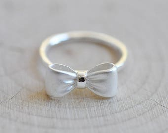 Sterling Silver Matte Silver Bow Ring, Sterling Silver Ring, Cute Jewelry, Bow Ring, Pretty Ring, Sterling Silver Jewelry, Silver Ring