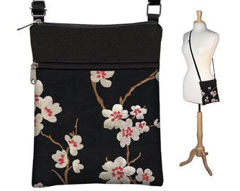 Plum Blossom Small Cross Body Purse  Black Crossbody Bag Sling Shoulder Bag Fits eReaders Asian Cherry Blossom red white RTS