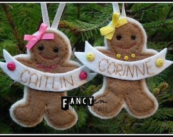 personalized gingerbread man felt ornaments