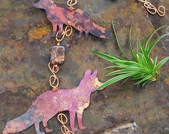 Red Fox Wind Chime - Fox Wind Chime - Copper Wind Chimes - Copper Fox - Mother's Day Gift - Rustic Wind Chimes - Foxes - Gift for her