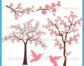 Cherry Blossom Trees - Digital Clipart