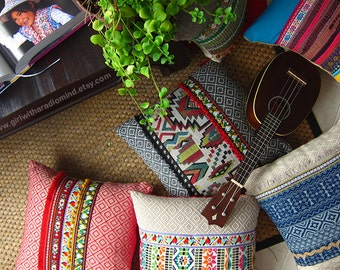 Boho Throw Pillows - Set of 3 - Colorful, Mexican, Boho, Gypsy, Rustic - Your Choice of Design - 16x16 inches
