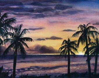 Poipu Sunset // Kauai // Watercolor // Palm trees // Hawaii // Evening // Purple // Orange