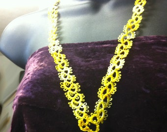 Tatted lanyard in variegated yellow rayon thread
