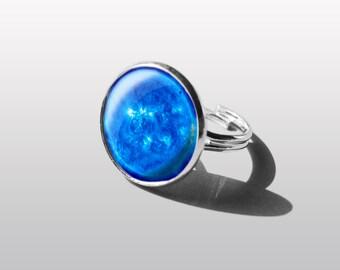 BLUE MOON réglable anneau anneau de LUNA de système solaire, planète bague, bijoux de l'espace, Galaxy. Cadeau pour fille ou soeur.