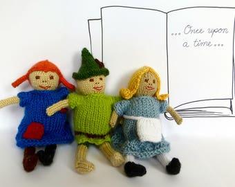 Simple Storybook Dolls Knitting Pattern: Pippi Longstocking, Alice in Wonderland, Peter Pan, Custom Knit Doll Pattern