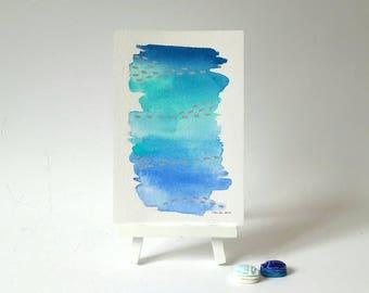 Blaue Wand-Dekor, abstrakte Aquarell Malerei, moderne abstrakte Kunst, Aquarell, Aquarell Kunst, original-Artworks, Schreibtisch Dekor