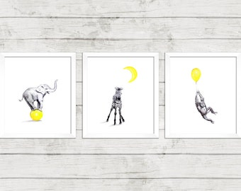 Nursery Wall Art Downloadable Prints - Set of 3 - 11 x14 inches - Yellow