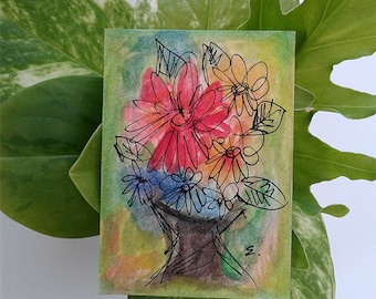 Original ACEO Painting Watercolor Flowers