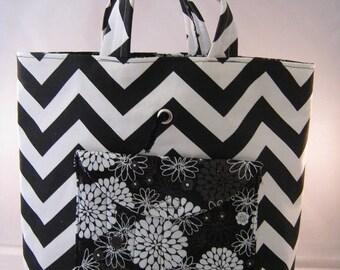 Black And White Chevron Crochet Tote Bag