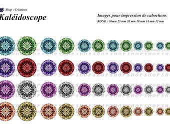 Kaleidoscope 48 cabochons printable images