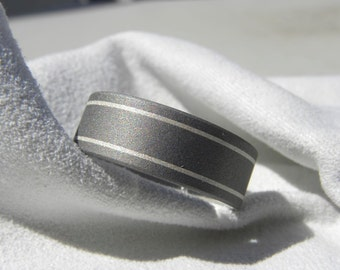 Wedding Ring, Titanium Band with Silver Pinstripes Sandblasted Finish