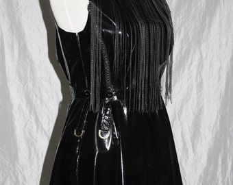 Patent leather Dress [golden details] with thread curtain-Gr. 38