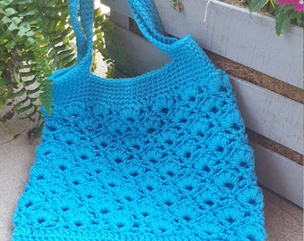 Crochet Tot bag, Farmer's Market Bag, Grocery Bag, Carry All Bag, Child's Toy Bag, Crocheted Shopping bag, Teal blue,