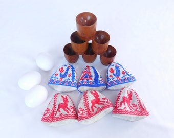 Vintage Egg Cups With Embroidered Cosies, Egg Holders, Egg Warmers, MCM Scandinavian Teak Wood, Easter Decoration