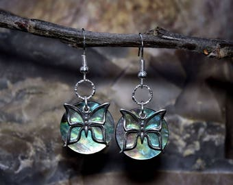 Sterling Silver Butterfly and Paua Shell Earrings