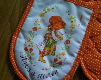 Vintage Holly Hobbie pot holder/vintage kitchen/holly hobbie kitchen/orange kitchen/orange decor/vintage orange decor/holly hobbie gift