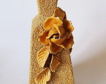 Sand Glazed Majolica Vase, Gold, Yellow, Vintage