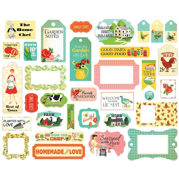 country kitchen frames tags carta bella ephemera cardstock