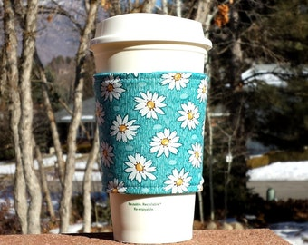 FREE SHIPPING UPGRADE with minimum -  Fabric coffee cozy / cup holder / coffee sleeve / can koosie / mason jar cozy - Sunny daisies