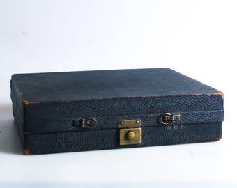 Vintage Black Leather Case//Briefcase