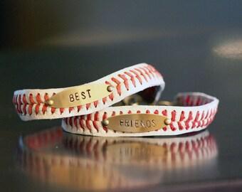 Set of 2 Leather Baseball Seam Bracelet Set of 2 • real leather baseball • hand stamped custom friendship bestie bracelet •best friends