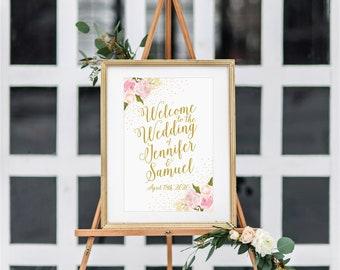 Large Wedding Sign Printable Vintage Wedding Floral Wedding Welcome Sign Floral Sign Vintage Wedding Sign Reception Sign #CL111