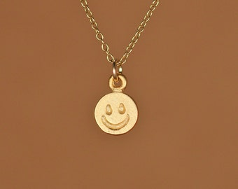 Happy face necklace - smiley face necklace - gold happy face - emoji necklace - bff - a happy face charm on a 14k gold vermeil chain